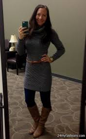 sweater dress with leggings and brown boots 2016 2017 b2b fashion