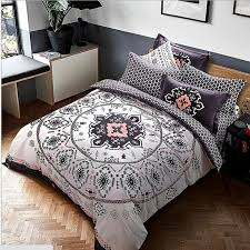 Geometric Duvet Cover Cotton Mandala Style Geometric Bedlinens Sanding Cotton Fabric