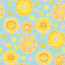 decorative wrapping paper concept decorative marigold flower 60s style background vector