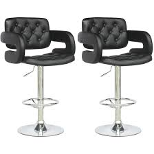 furniture black tufted leather bar stools with arms and bar stool