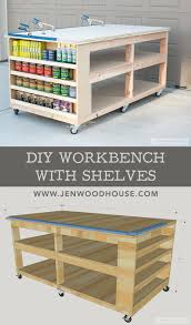 Free Woodworking Workbench Plans by How To Build A Diy Mobile Workbench With Shelves Diy Workbench