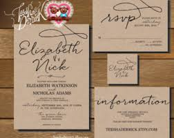 wedding invitation bundles wedding invitations kits rectangle potrait black artistic wording
