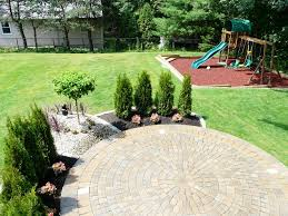Simple Brick Patio With Circle Paver Kit Patio Designs And Ideas by Landscaping Around Patios Landscape 781 858 8000 From Done