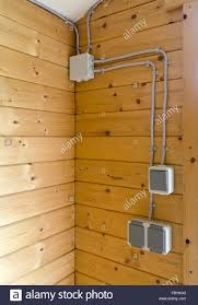 electrical installation in a wooden house stock photo royalty