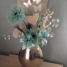 Duck Egg Blue Vase Artificial Flowers In Silver Tin Vase Duck Egg Blue And White