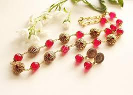 beaded red necklace images Ruby red beaded necklace set designer gemstone necklace at 3950 jpg