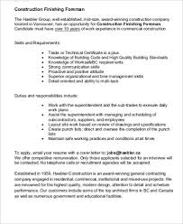Foreman Job Description Resume by Construction Job Description Sample 11 Examples In Word Pdf