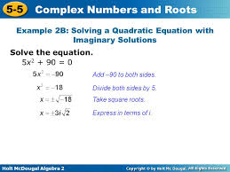 example 2b solving a quadratic equation with imaginary solutions