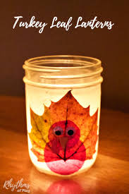 easy thanksgiving centerpieces for kids to make turkey leaf lanterns thanksgiving craft nature crafts
