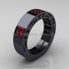 modern mens wedding bands mens modern vintage 14k black gold ruby wedding band r474m 14kbgr
