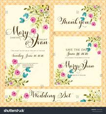 Wedding Invitations And Thank You Cards Wedding Invitation Thank You Card Save Stock Vector 129479789