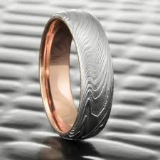 epic wedding band epic wood domed realistic woodgrain damascus wedding band with