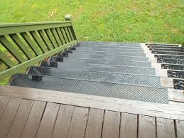 add outdoor stair treads to prevent wood steps from getting worn