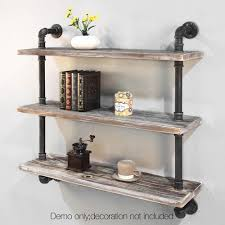 vintage on the shelf 3 level rustic bookshelf industrial pipe and wood shelf vintage
