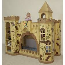 girls castle bed white wooden bunk bed with castle form combined pink roof and f