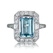 aquamarine and diamond ring aquamarine engagement ring estate diamond jewelry