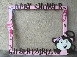pink u0026 brown monkey baby shower selfie frame our wood creations