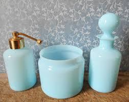 Blue Glass Bathroom Accessories Elegant Bathroom Art Etsy