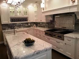 Cooktop Cabinet Beige Marble Countertop Kitchen Island Oak Wood Kitchen Cabinet