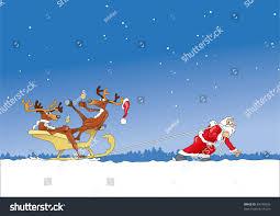 santa claus pulls sleigh with drunken reindeer stock vector