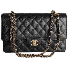 chanel 2 55 caviar medium classic flap bag black gold at