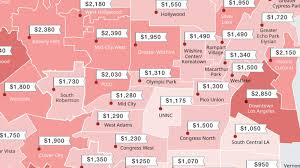 Map Downtown Los Angeles by The Cheapest And Most Expensive La Rental Neighborhoods Right Now
