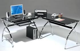Glass Metal Computer Desk Glass Metal Computer Desk And With Top White Silver X Frame Corner