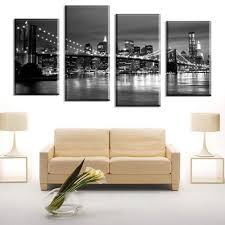 online get cheap large wall canvas art new york city aliexpress 4 panels city view new york large hd canvas print painting for living room wall art