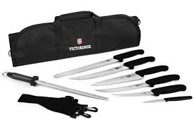 victorinox fibrox ultimate bbq knife roll set 8 piece cutlery