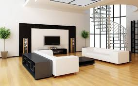 home theater shows white fabric sofa on brown wooden floor and lcd