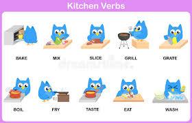verbe de cuisine dictionnaire de photo de verbes de cuisine pour des enfants