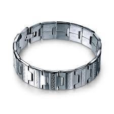 mens bracelet steel images Chain link stainless steel men 39 s bracelet wavy shopper jpg
