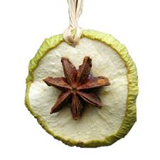 dried apple slice and anise tree decorations bring a