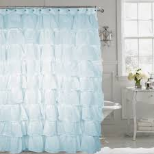 Spa Shower Curtain Spa Blue Shabby Chic Ruffled Voile Fabric Shower Curtain