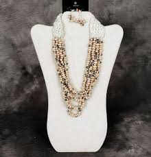 black neck from necklace images Black eyed pea necklace and earring set jpg