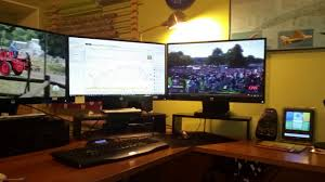 soccer 22 u0027s home workspace with three hp 27