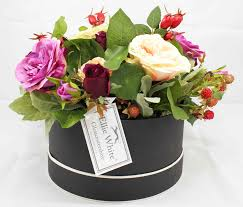 faux flower arrangements miranda faux flower hatbox ellie white