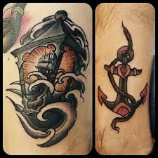 anchor nice lantern tattoo with pirate ship golfian com