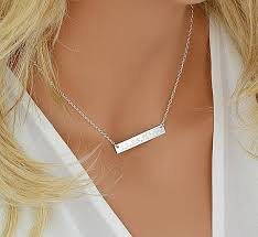 personalized silver bar necklace sterling silver bar necklace personalized bar necklace