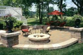 this is an example of a landscaping in omaha with a fire pit fire