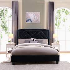 handy living abingdon queen sized navy blue velvet upholstered bed
