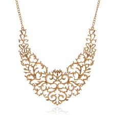gold necklace statement images Gold vintage style filigree hollow bib statement necklace jpg