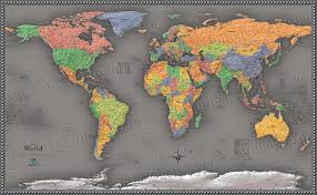 World Wall Map by Cool Color World Map Modern Design World Map