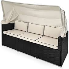 Sofa Bed Recliner Poly Rattan Sofa Bench Day Bed Black Outdoor Patio Wicker
