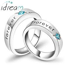 engraved promise rings images Princess cut blue topaz black forever engraved promise rings for jpg