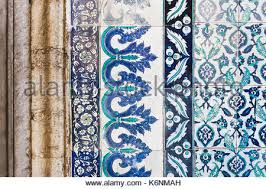 traditional turkish floral ceramic ornament on tiles background in