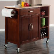 mabel kitchen cart in walnut u0026 natural finish winsome wood 94843