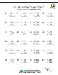 Math Worksheets For 5th Grade 5th Grade Math Practice Subtracing Decimals