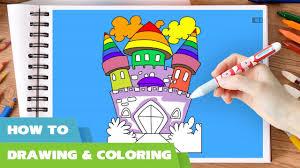 princess castle coloring pages kids draw castle