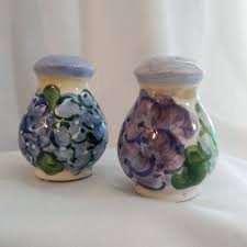 hydrangea flowers hand painted salt and pepper shakers